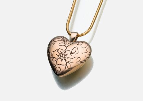 Floral Heart Pendant - Bronze Image