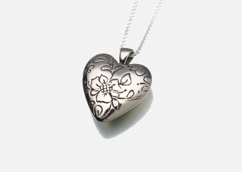 Floral Heart Pendant - White Bronze Image