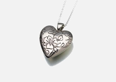 Floral Heart Pendant - White Bronze Image