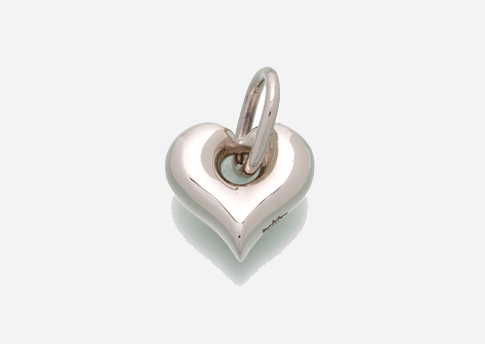 Puff Heart Pendant with Loop - Sterling Silver Image