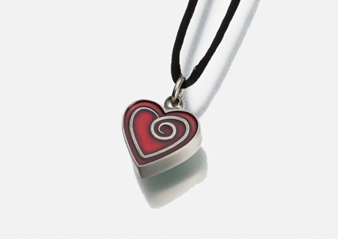 Heart Pendant with Red Enamel Spiral Image