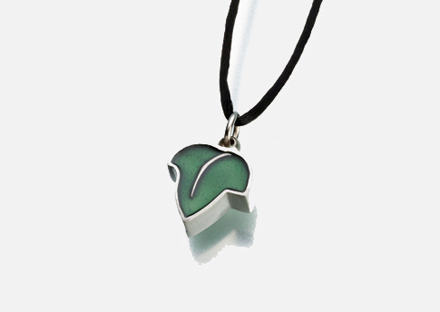 Leaf Pendant with Green Enamel Image