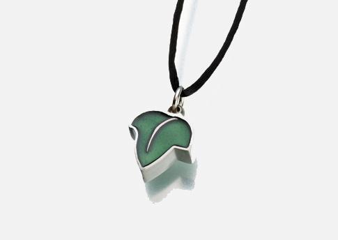 Leaf Pendant with Green Enamel Image