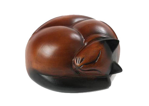 Carved Sleeping Cat - Dark Brown Image