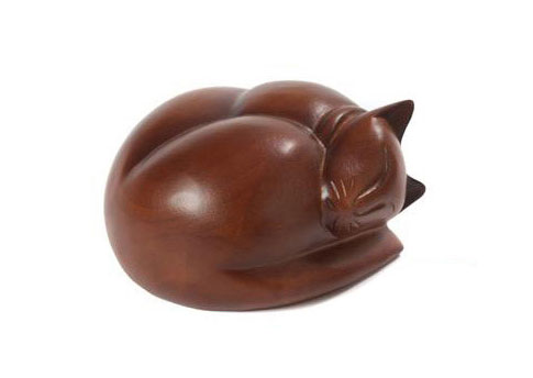Carved Sleeping Cat - Light Brown Image