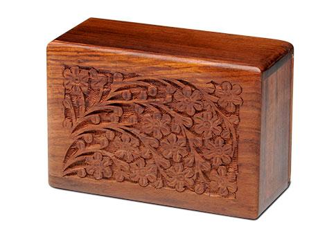 Elegant Hand Carved Wood Urn Image