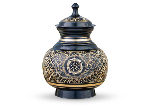 Elegantly Etched Brass Urn - Black Image
