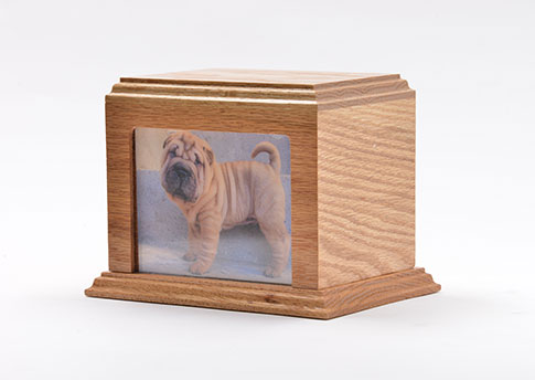 Solid Wood Photo Urn - Oak Image