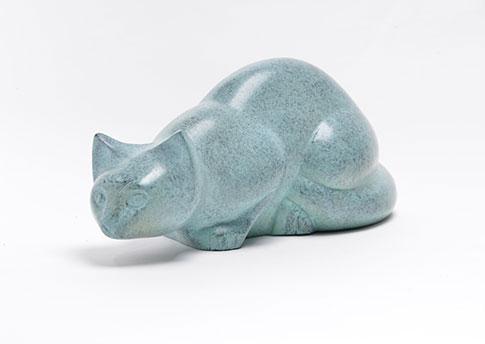 Sculpted Cat Urn Pouncing Patina Image