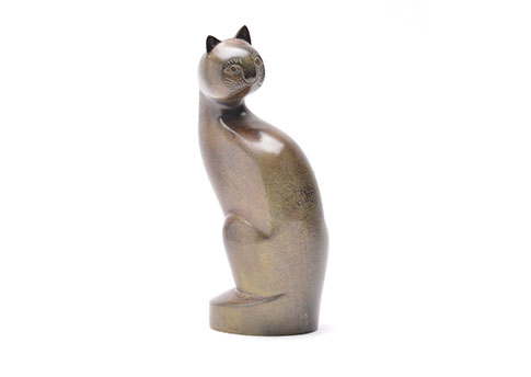 Tall Cat Urn - Calico Image