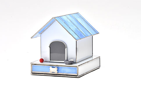 Stained Glass Dog House Urn Image