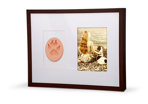 Wall Frame Photo Paw Print Urn - Mahogany Image