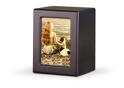 Wood Photo Urn - Black Image