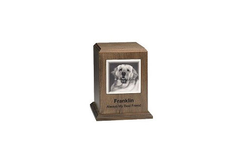 Ceramic Picture Tile Urn with Base Image