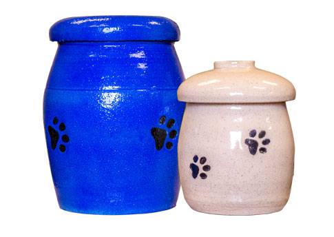 Pottery Urn With Paw Prints Image