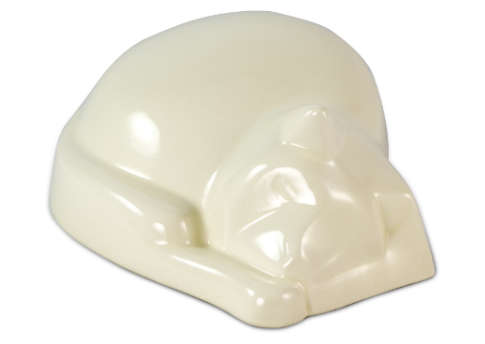 Sleeping Cat Urn - White Image