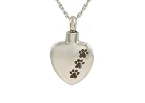 Heart Shaped Pendant With 3 Paw Prints Image