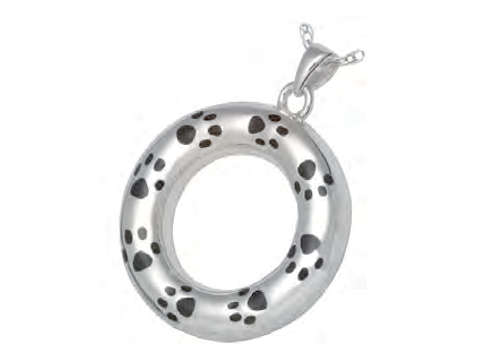 Round Pawprint Pendant - Sterling Silver Image