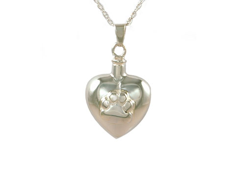 Silver Heart and Paw Pendant Image